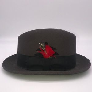 BAILEY Brown Fedora with Black Band & Red Feather
